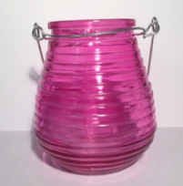 Beehive Glass Coloured Tea Light ~ Pink
